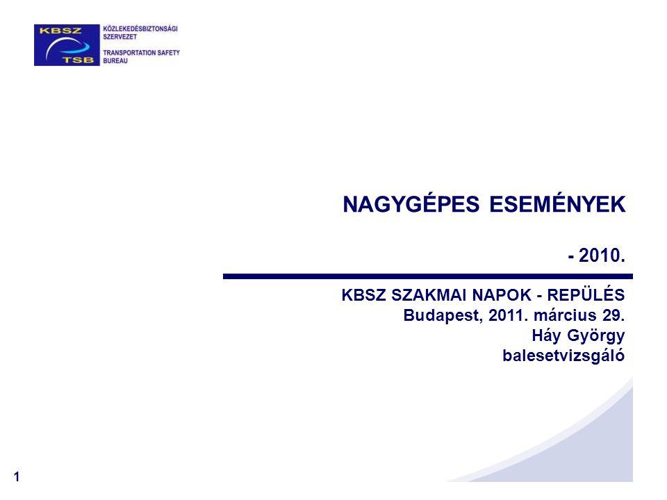 1 NAGYGÉPES ESEMÉNYEK - 2010. KBSZ SZAKMAI NAPOK - REPÜLÉS Budapest, 2011. március 29. Háy György balesetvizsgáló
