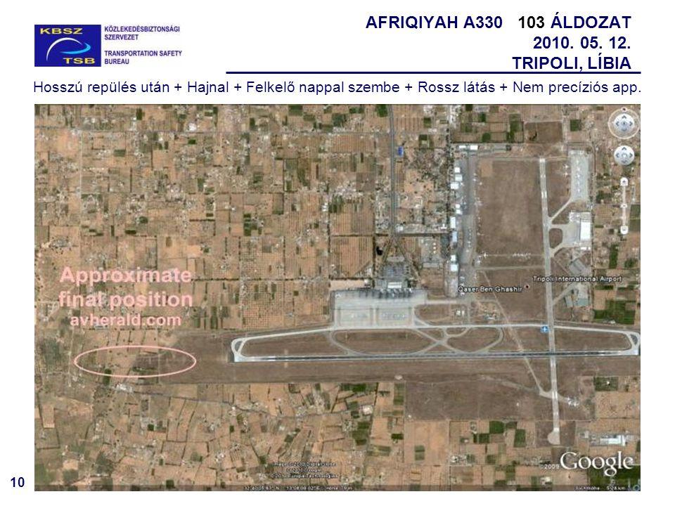 10 AFRIQIYAH A330 103 ÁLDOZAT 2010. 05. 12. TRIPOLI, LÍBIA Hosszú repülés után + Hajnal + Felkelő nappal szembe + Rossz látás + Nem precíziós app.