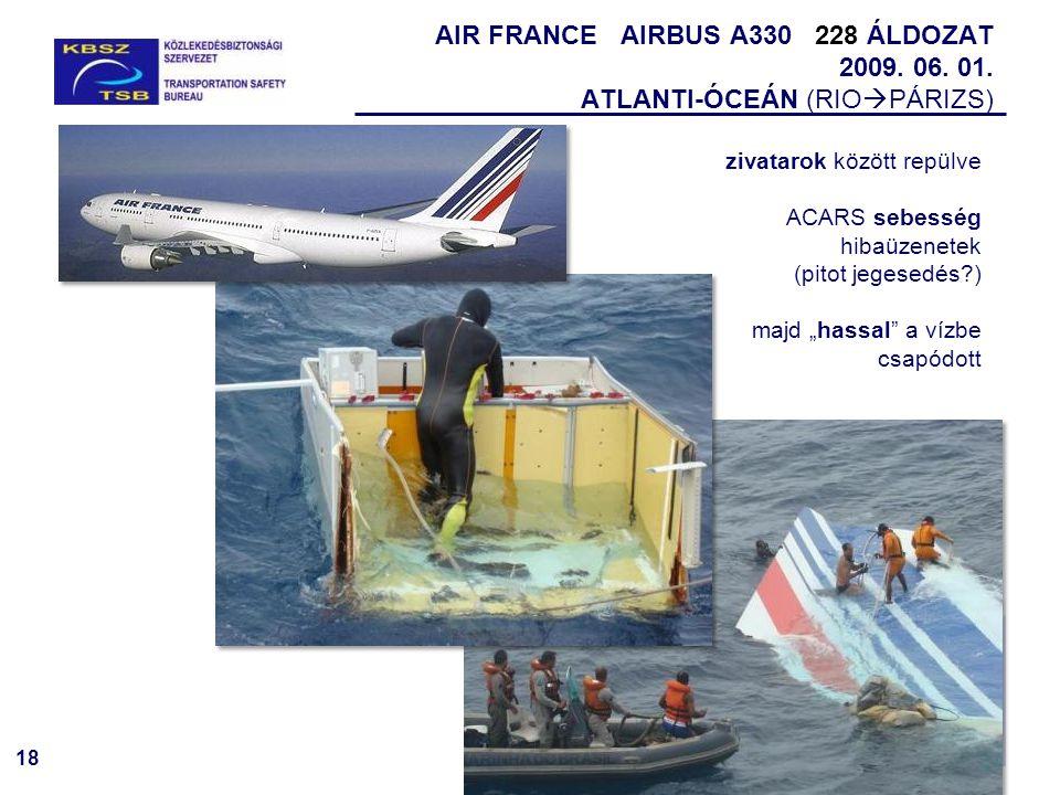 18 AIR FRANCE AIRBUS A330 228 ÁLDOZAT 2009. 06. 01. ATLANTI-ÓCEÁN (RIO  PÁRIZS) zivatarok között repülve ACARS sebesség hibaüzenetek (pitot jegesedés