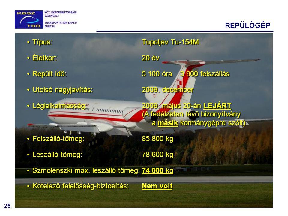 28 REPÜLŐGÉP Típus:Tupoljev Tu-154M Életkor: 20 év Repült idő: 5 100 óra3 900 felszállás Utolsó nagyjavítás:2009. december Légialkalmasság:2009. május