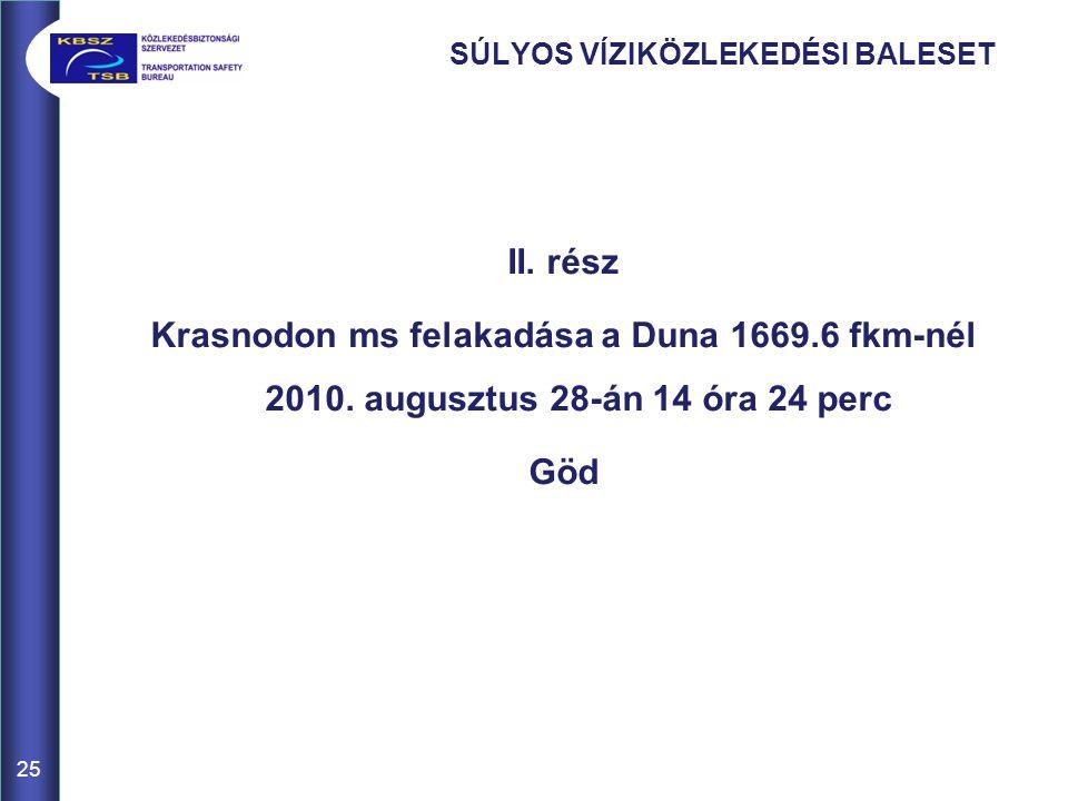 SÚLYOS VÍZIKÖZLEKEDÉSI BALESET II.rész Krasnodon ms felakadása a Duna 1669.6 fkm-nél 2010.
