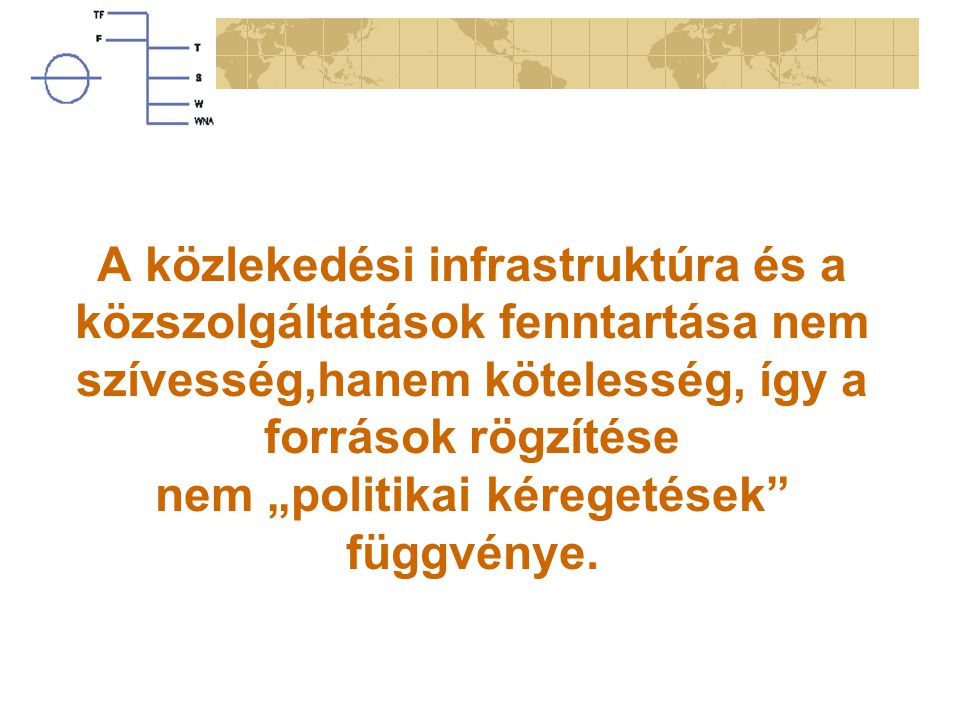"""A közlekedési infrastruktúra és a közszolgáltatások fenntartása nem szívesség,hanem kötelesség, így a források rögzítése nem """"politikai kéregetések függvénye."""