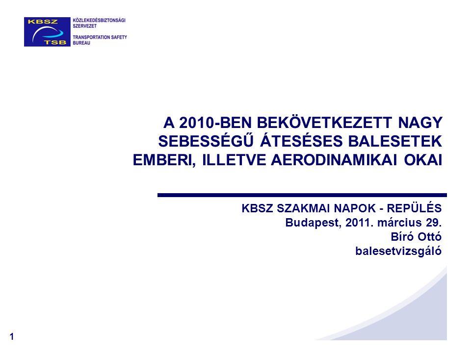 1 A 2010-BEN BEKÖVETKEZETT NAGY SEBESSÉGŰ ÁTESÉSES BALESETEK EMBERI, ILLETVE AERODINAMIKAI OKAI KBSZ SZAKMAI NAPOK - REPÜLÉS Budapest, 2011. március 2