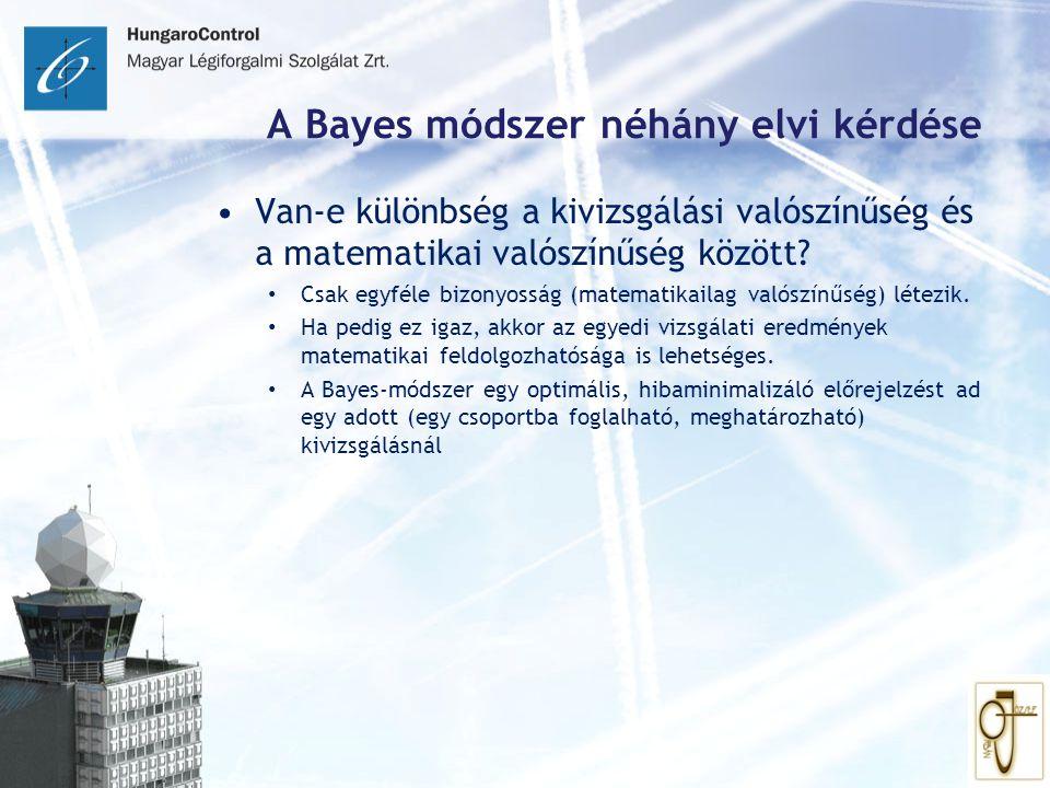 A Bayes módszer néhány elvi kérdése Van-e különbség a kivizsgálási valószínűség és a matematikai valószínűség között? Csak egyféle bizonyosság (matema