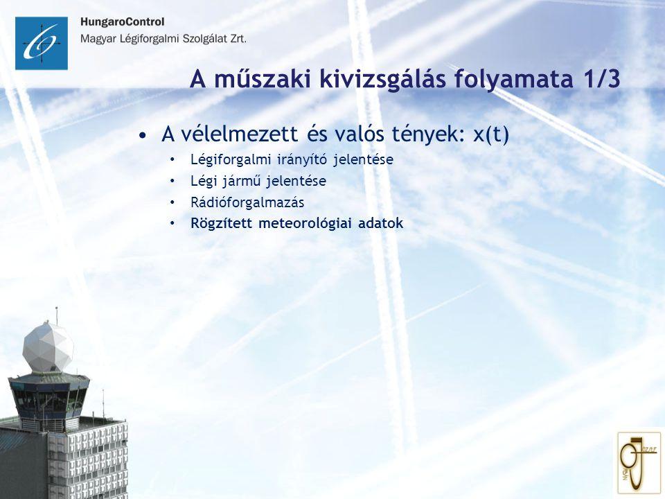 A műszaki kivizsgálás folyamata 1/3 A vélelmezett és valós tények: x(t) Légiforgalmi irányító jelentése Légi jármű jelentése Rádióforgalmazás Rögzítet