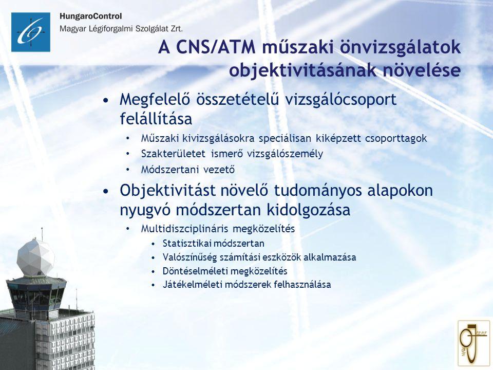 A CNS/ATM műszaki önvizsgálatok objektivitásának növelése Megfelelő összetételű vizsgálócsoport felállítása Műszaki kivizsgálásokra speciálisan kiképz