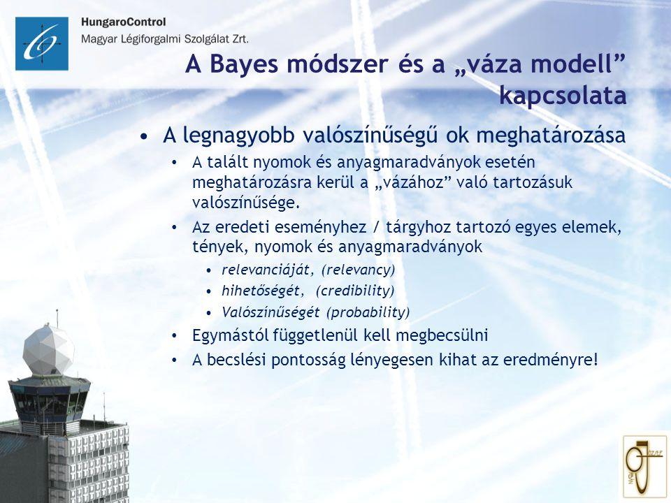 """A Bayes módszer és a """"váza modell"""" kapcsolata A legnagyobb valószínűségű ok meghatározása A talált nyomok és anyagmaradványok esetén meghatározásra ke"""