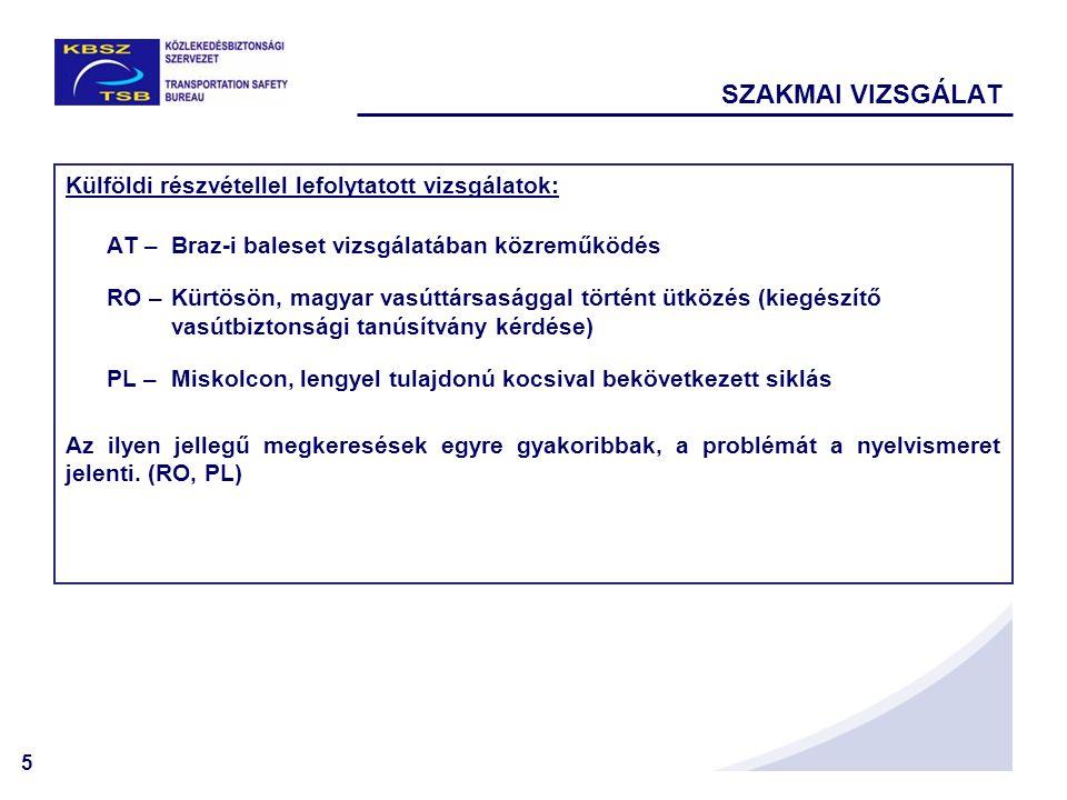 5 Külföldi részvétellel lefolytatott vizsgálatok: AT –Braz-i baleset vizsgálatában közreműködés RO –Kürtösön, magyar vasúttársasággal történt ütközés (kiegészítő vasútbiztonsági tanúsítvány kérdése) PL –Miskolcon, lengyel tulajdonú kocsival bekövetkezett siklás Az ilyen jellegű megkeresések egyre gyakoribbak, a problémát a nyelvismeret jelenti.