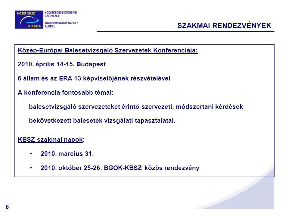 8 SZAKMAI RENDEZVÉNYEK Közép-Európai Balesetvizsgáló Szervezetek Konferenciája: 2010. április 14-15. Budapest 6 állam és az ERA 13 képviselőjének rész
