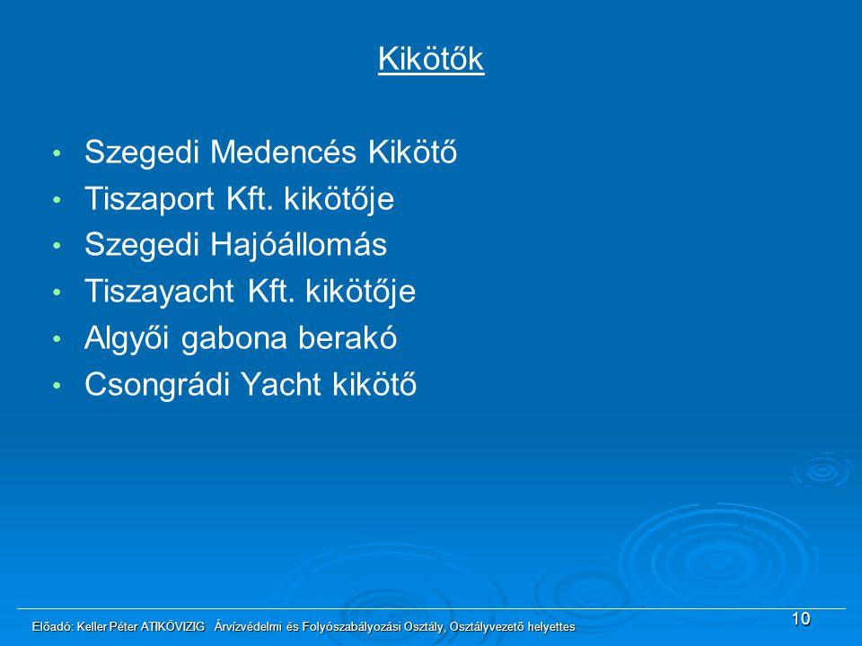 10 Kikötők Szegedi Medencés Kikötő Tiszaport Kft. kikötője Szegedi Hajóállomás Tiszayacht Kft. kikötője Algyői gabona berakó Csongrádi Yacht kikötő El