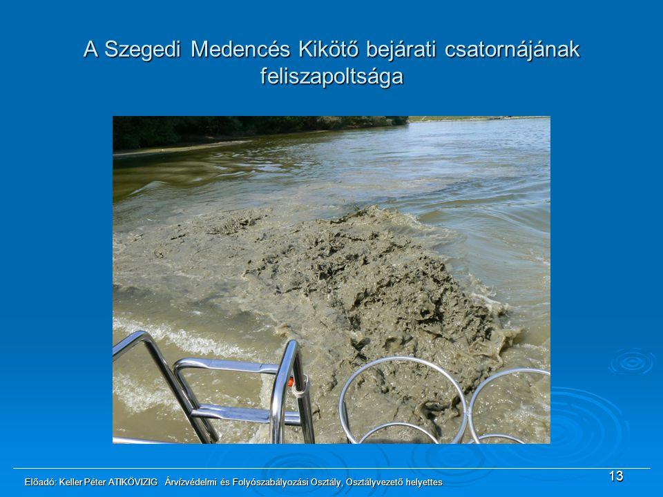 A Szegedi Medencés Kikötő bejárati csatornájának feliszapoltsága 13 Előadó: Keller Péter ATIKÖVIZIG Árvízvédelmi és Folyószabályozási Osztály, Osztály