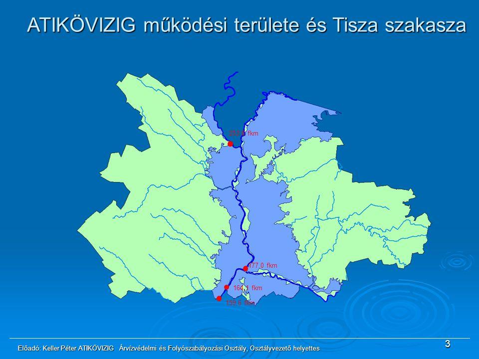 3 253,8 fkm 177,0 fkm 164,1 fkm 159,6 fkm ATIKÖVIZIG működési területe és Tisza szakasza Előadó: Keller Péter ATIKÖVIZIG Árvízvédelmi és Folyószabályo