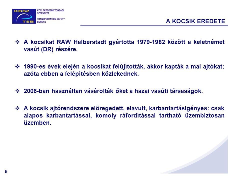 6 A KOCSIK EREDETE  A kocsikat RAW Halberstadt gyártotta 1979-1982 között a keletnémet vasút (DR) részére.