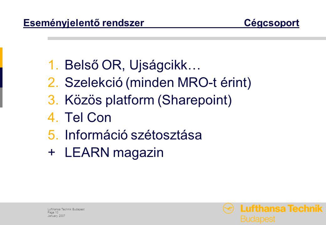 Lufthansa Technik Budapest Page 10 January 2007 Eseményjelentő rendszer Cégcsoport 1.Belső OR, Ujságcikk… 2.Szelekció (minden MRO-t érint) 3.Közös platform (Sharepoint) 4.Tel Con 5.Információ szétosztása +LEARN magazin