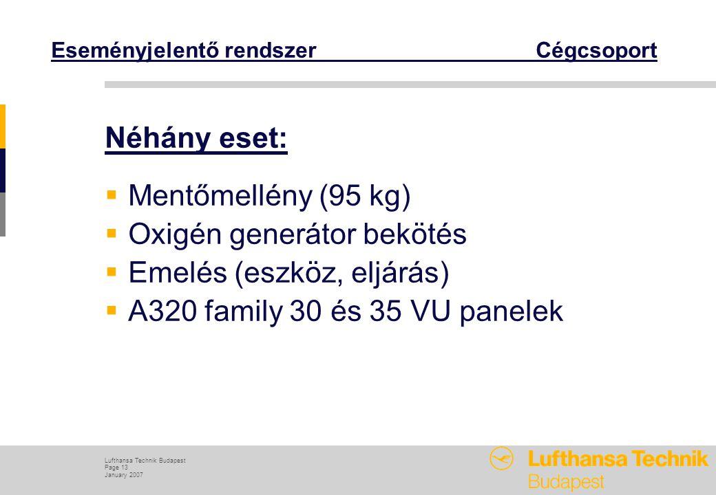 Lufthansa Technik Budapest Page 13 January 2007 Eseményjelentő rendszer Cégcsoport Néhány eset:  Mentőmellény (95 kg)  Oxigén generátor bekötés  Emelés (eszköz, eljárás)  A320 family 30 és 35 VU panelek
