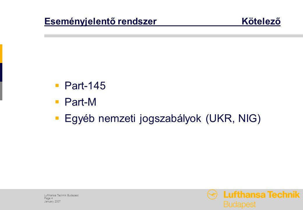 Lufthansa Technik Budapest Page 4 January 2007 Eseményjelentő rendszer Kötelező  Part-145  Part-M  Egyéb nemzeti jogszabályok (UKR, NIG)