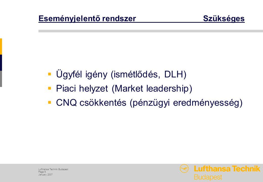 Lufthansa Technik Budapest Page 5 January 2007 Eseményjelentő rendszer Szükséges  Ügyfél igény (ismétlődés, DLH)  Piaci helyzet (Market leadership)  CNQ csökkentés (pénzügyi eredményesség)