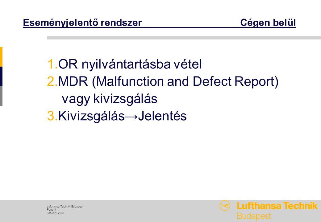 Lufthansa Technik Budapest Page 9 January 2007 Eseményjelentő rendszer Cégen belül 1.OR nyilvántartásba vétel 2.MDR (Malfunction and Defect Report) vagy kivizsgálás 3.Kivizsgálás→Jelentés