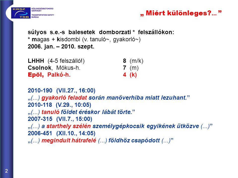 súlyos s.e.-s balesetek domborzati * felszállókon: * magas + kisdombi (v. tanuló~, gyakorló~) 2006. jan. – 2010. szept. LHHH (4-5 felszálló!)8 (m/k) C