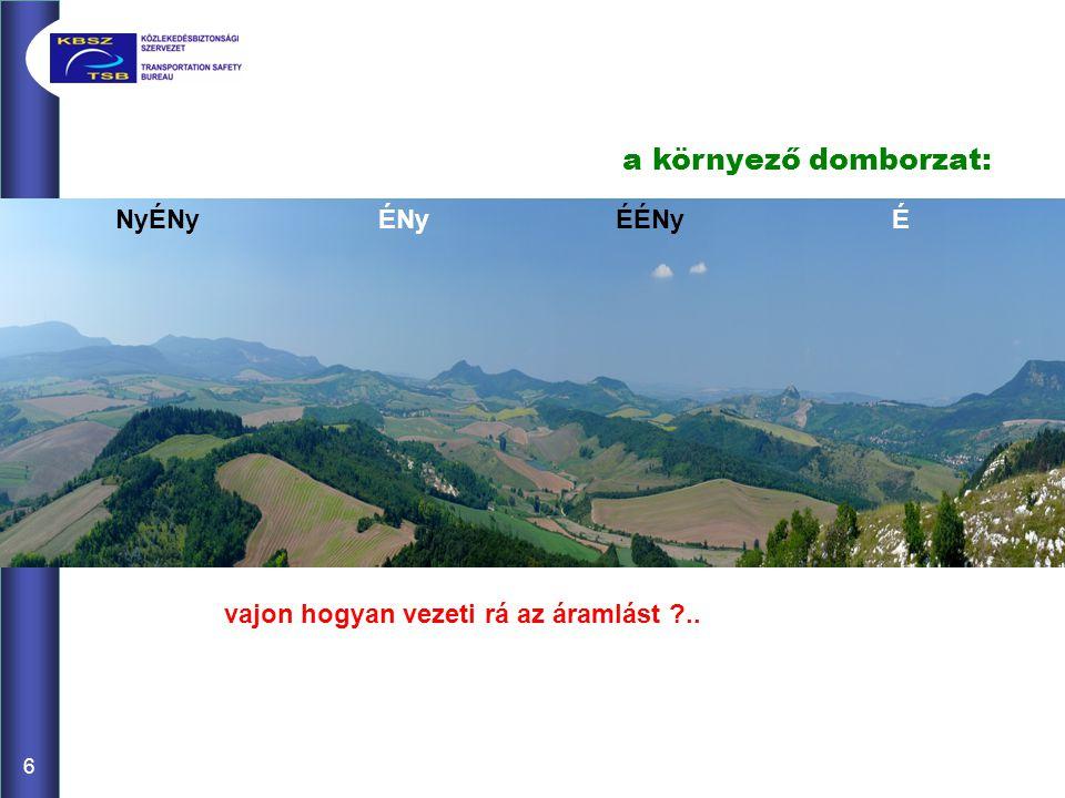 7 9 m/s5 m/s a domborzat helyi metszete: ~7 m/s(!) felett a határrétege pont a felszálló oldalán lüktet ~> lejjebbről száll fel, de onnan is kikaphatja szélárnyék (turbulens) csóvája (~ dH*2*szél[m/s] hosszú ~dH*1,5 magas)