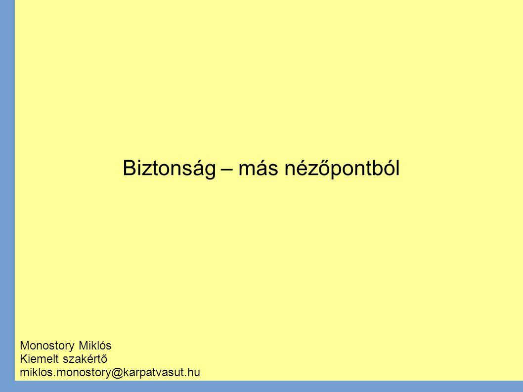 Biztonság – más nézőpontból Monostory Miklós Kiemelt szakértő miklos.monostory@karpatvasut.hu