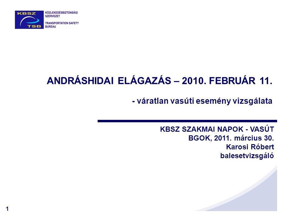 1 ANDRÁSHIDAI ELÁGAZÁS – 2010. FEBRUÁR 11. - váratlan vasúti esemény vizsgálata KBSZ SZAKMAI NAPOK - VASÚT BGOK, 2011. március 30. Karosi Róbert bales