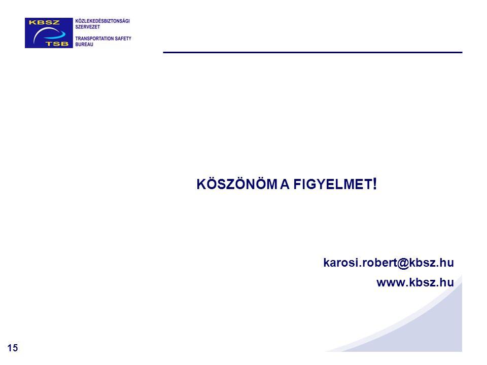 15 KÖSZÖNÖM A FIGYELMET ! karosi.robert@kbsz.hu www.kbsz.hu