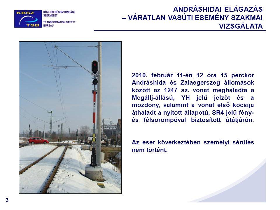 14 A Vb által kiadott Biztonsági ajánlások ANDRÁSHIDAI ELÁGAZÁS – VÁRATLAN VASÚTI ESEMÉNY SZAKMAI VIZSGÁLATA  A vasútvonalon alkalmazható legnagyobb sebesség  Útsorompót ellenőrző fedezőjelzők  A szolgálati hely kialakítása  A bejárati jelzőn megjelenő jelzési kép
