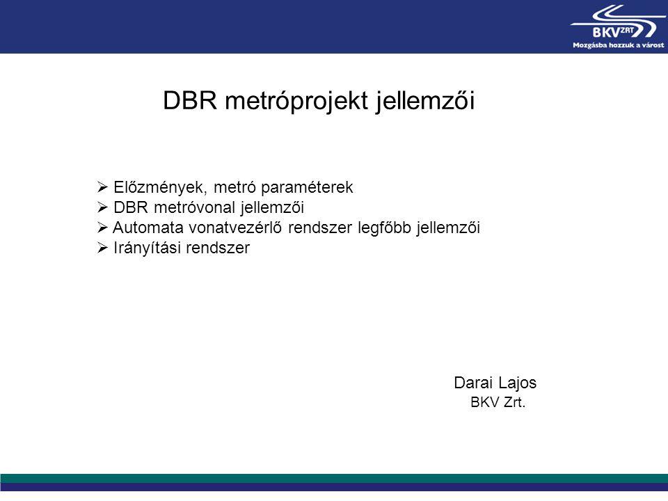 DBR metróprojekt jellemzői  Előzmények, metró paraméterek  DBR metróvonal jellemzői  Automata vonatvezérlő rendszer legfőbb jellemzői  Irányítási
