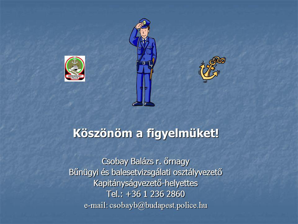 Köszönöm a figyelmüket! Csobay Balázs r. őrnagy Bűnügyi és balesetvizsgálati osztályvezető Kapitányságvezető-helyettes Tel.: +36 1 236 2860 e-mail: cs