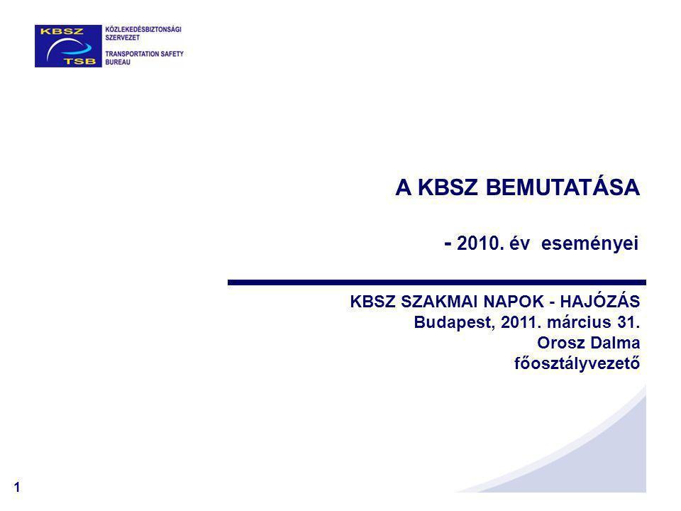 1 A KBSZ BEMUTATÁSA - 2010. év eseményei KBSZ SZAKMAI NAPOK - HAJÓZÁS Budapest, 2011.