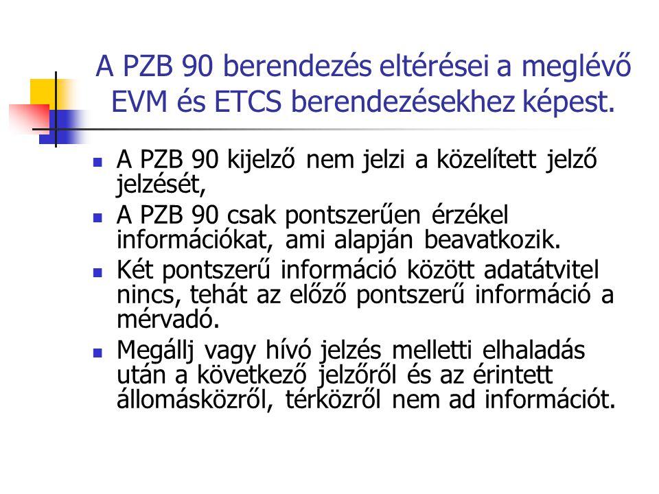 A PZB 90 berendezés eltérései a meglévő EVM és ETCS berendezésekhez képest. A PZB 90 kijelző nem jelzi a közelített jelző jelzését, A PZB 90 csak pont
