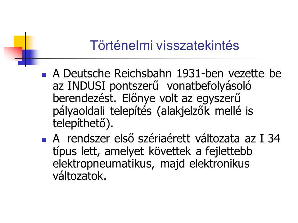 Történelmi visszatekintés A Deutsche Reichsbahn 1931-ben vezette be az INDUSI pontszerű vonatbefolyásoló berendezést. Előnye volt az egyszerű pályaold