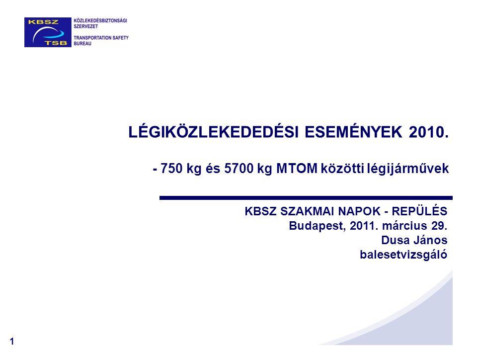 1 LÉGIKÖZLEKEDEDÉSI ESEMÉNYEK 2010. - 750 kg és 5700 kg MTOM közötti légijárművek KBSZ SZAKMAI NAPOK - REPÜLÉS Budapest, 2011. március 29. Dusa János