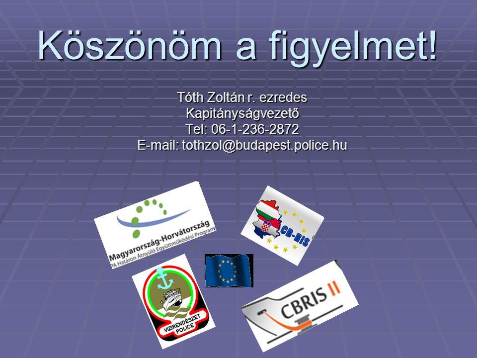 Köszönöm a figyelmet! Tóth Zoltán r. ezredes Kapitányságvezető Tel: 06-1-236-2872 E-mail: tothzol@budapest.police.hu
