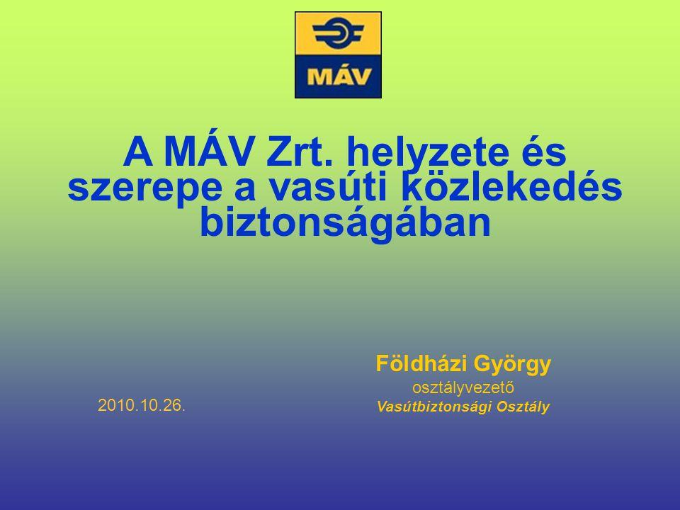 Földházi György osztályvezető Vasútbiztonsági Osztály A MÁV Zrt. helyzete és szerepe a vasúti közlekedés biztonságában 2010.10.26.