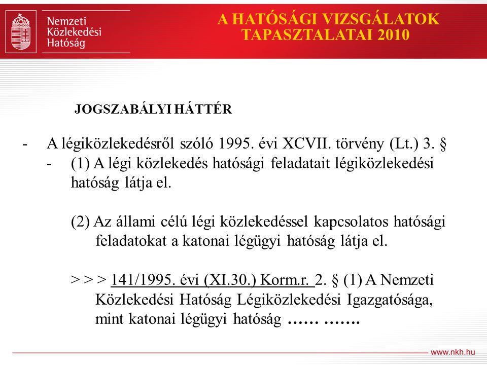 A HATÓSÁGI VIZSGÁLATOK TAPASZTALATAI 2010 JOGSZABÁLYI HÁTTÉR A 141/1995.