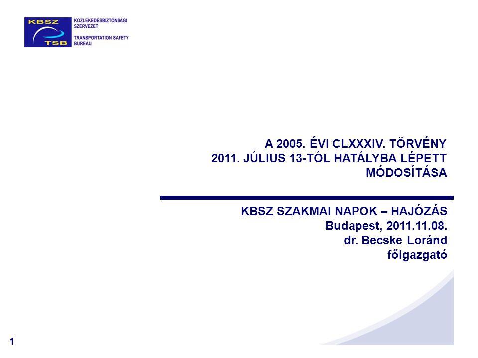 1 KBSZ SZAKMAI NAPOK – HAJÓZÁS Budapest, 2011.11.08. dr. Becske Loránd főigazgató A 2005. ÉVI CLXXXIV. TÖRVÉNY 2011. JÚLIUS 13-TÓL HATÁLYBA LÉPETT MÓD