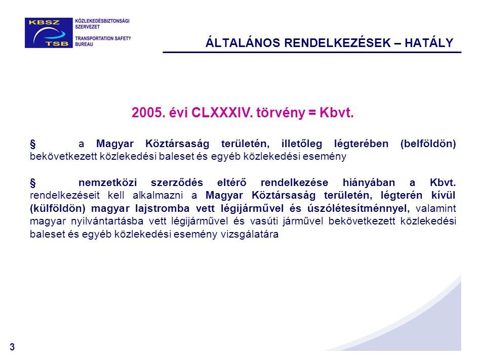 3 ÁLTALÁNOS RENDELKEZÉSEK – HATÁLY 2005. évi CLXXXIV. törvény = Kbvt. §a Magyar Köztársaság területén, illetőleg légterében (belföldön) bekövetkezett