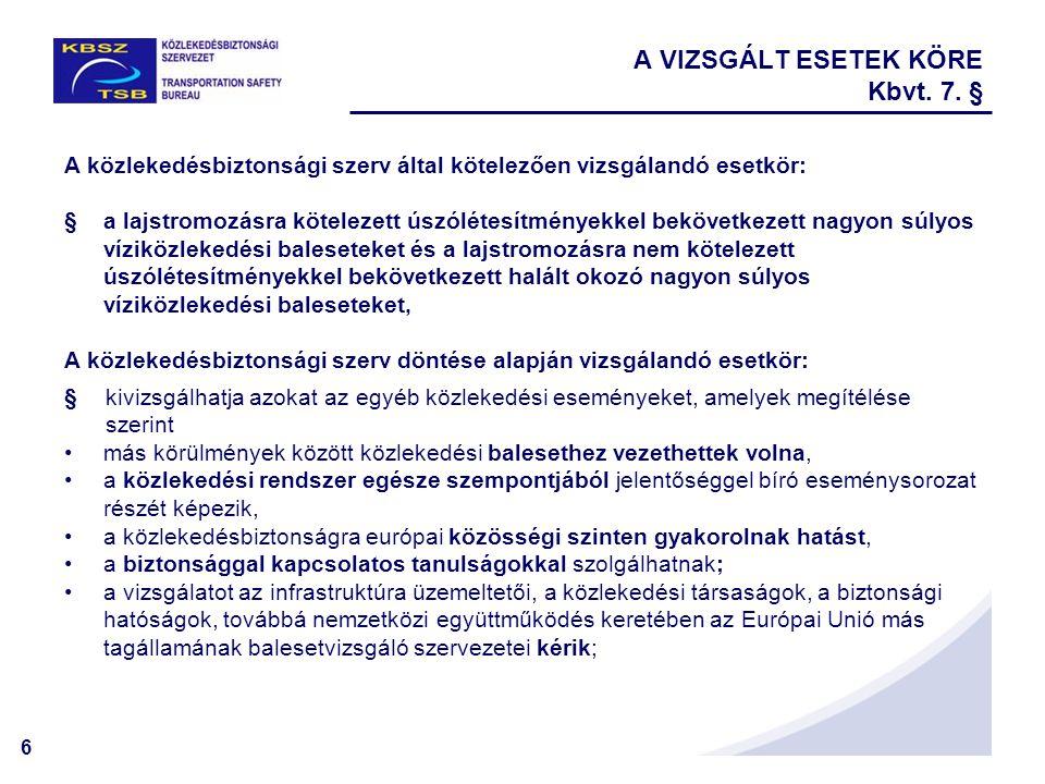 6 A VIZSGÁLT ESETEK KÖRE Kbvt. 7. § A közlekedésbiztonsági szerv által kötelezően vizsgálandó esetkör: §a lajstromozásra kötelezett úszólétesítményekk