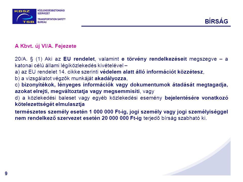 9 BÍRSÁG A Kbvt. új VI/A. Fejezete 20/A. § (1) Aki az EU rendelet, valamint e törvény rendelkezéseit megszegve – a katonai célú állami légiközlekedés