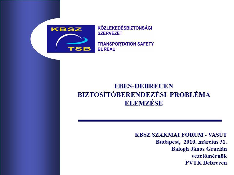 KBSZ SZAKMAI FÓRUM - VASÚT Budapest, 2010. március 31. Balogh János Gracián vezetőmérnök PVTK Debrecen EBES-DEBRECEN PROBLÉMA ELEMZÉSE BIZTOSÍTÓBEREND