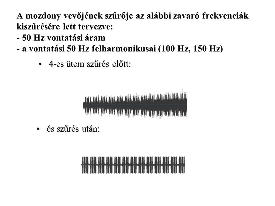 A mozdony vevőjének szűrője az alábbi zavaró frekvenciák kiszűrésére lett tervezve: - 50 Hz vontatási áram - a vontatási 50 Hz felharmonikusai (100 Hz, 150 Hz) 4-es ütem szűrés előtt:4-es ütem szűrés előtt: és szűrés után:és szűrés után: