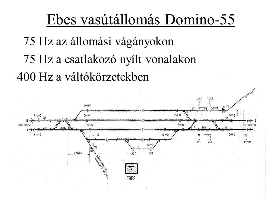 Ebes vasútállomás Domino-55 75 Hz az állomási vágányokon 75 Hz a csatlakozó nyílt vonalakon 400 Hz a váltókörzetekben