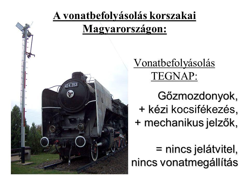 Vonatbefolyásolás TEGNAP: Gőzmozdonyok, + kézi, + mechanikus jelzők, = nincs jelátvitel, nincs vonatmegállítás Gőzmozdonyok, + kézi kocsifékezés, + mechanikus jelzők, = nincs jelátvitel, nincs vonatmegállítás A vonatbefolyásolás korszakai Magyarországon: