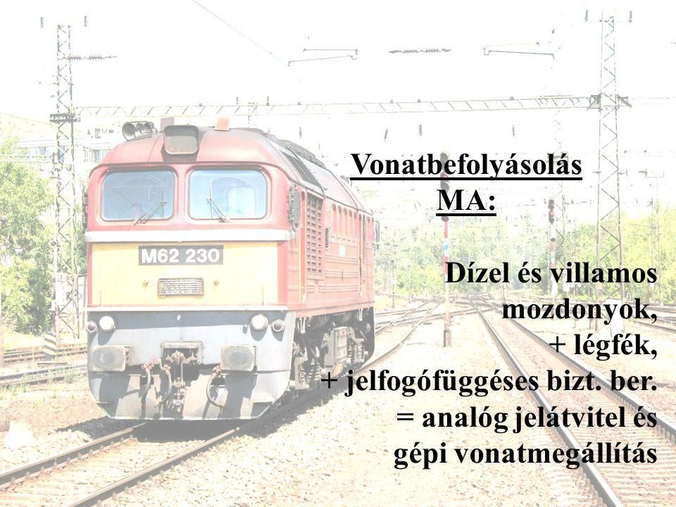 Vonatbefolyásolás MA: Dízel és villamos mozdonyok, + légfék, + jelfogófüggéses bizt. ber. = analóg jelátvitel és gépi vonatmegállítás