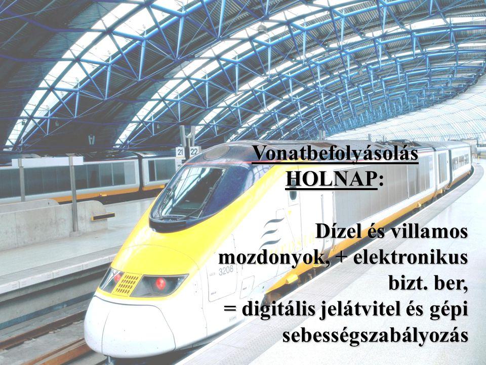 Vonatbefolyásolás HOLNAP: Dízel és villamos mozdonyok, + elektronikus bizt. ber, = digitális jelátvitel és gépi sebességszabályozás sebességszabályozá