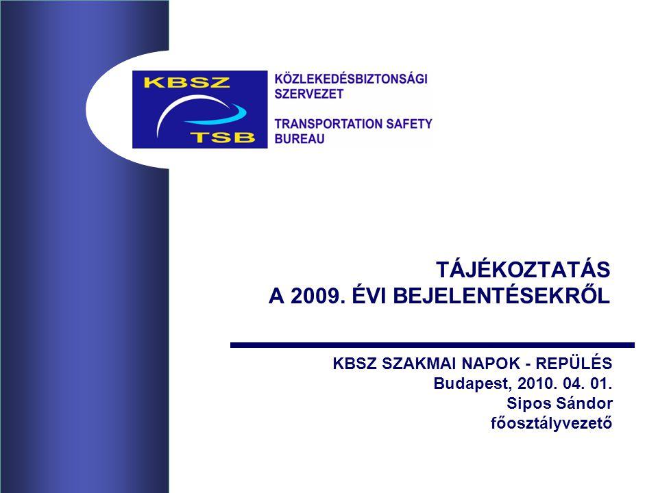 TÁJÉKOZTATÁS A 2009. ÉVI BEJELENTÉSEKRŐL KBSZ SZAKMAI NAPOK - REPÜLÉS Budapest, 2010.