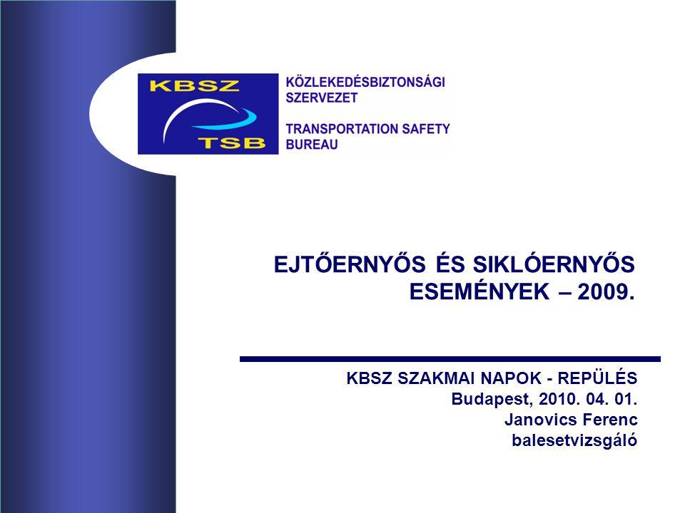 EJTŐERNYŐS ÉS SIKLÓERNYŐS ESEMÉNYEK – 2009. KBSZ SZAKMAI NAPOK - REPÜLÉS Budapest, 2010.