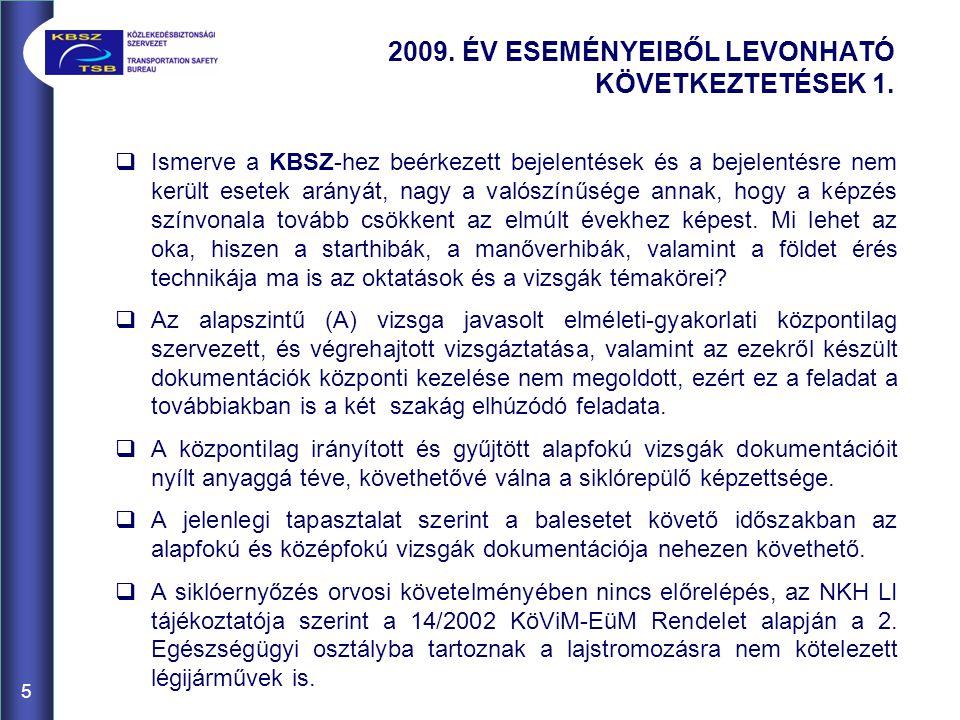 5 2009. ÉV ESEMÉNYEIBŐL LEVONHATÓ KÖVETKEZTETÉSEK 1.